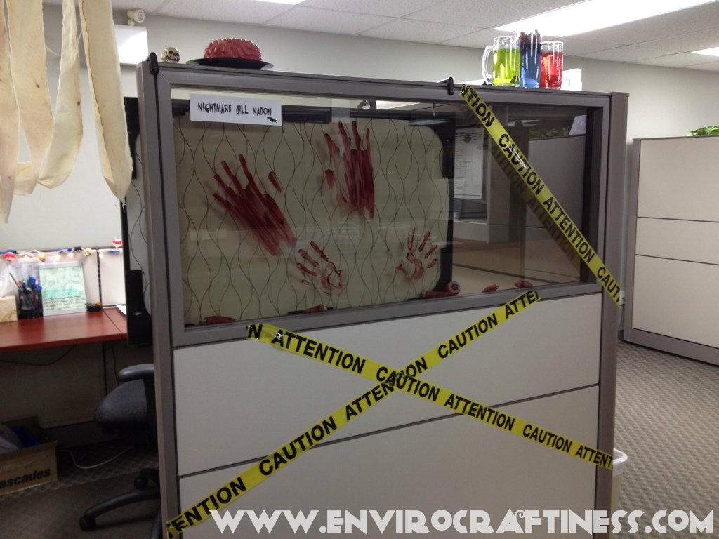 office halloween decorations. Perfect Decorations Bloody Handprint Glass Intended Office Halloween Decorations