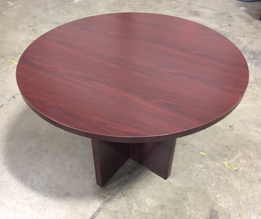 Round Mahogany Conference Table