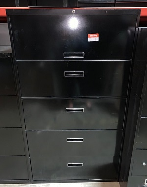 "36"" Black 5 Drawer Lateral"