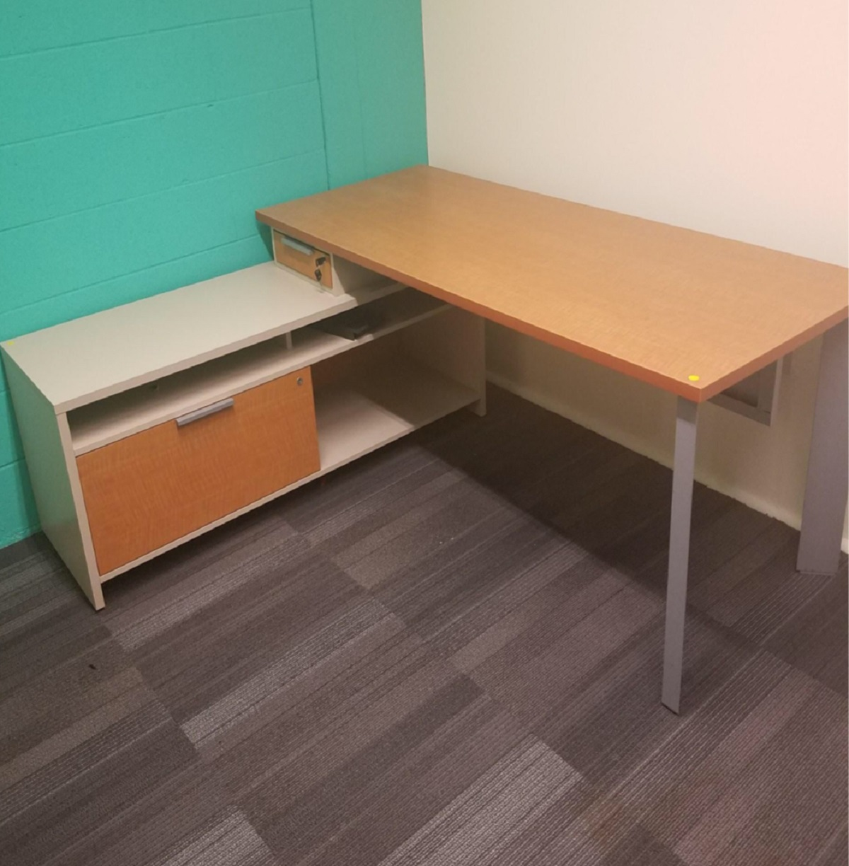 L Shape Desk with Cabinet Attached