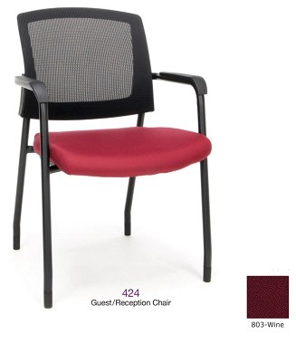 Mesh Back Guest/Reception Chair-Wine Seat Cushion