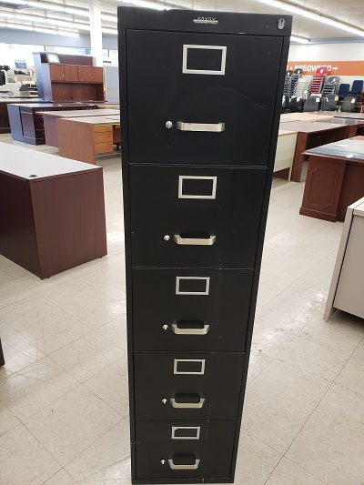 5 Drawer Vertical Black File
