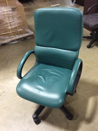 Green Leather Conference Chair