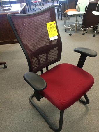 Mesh Back Guest Chair-Wine