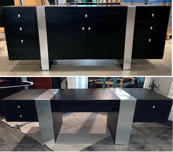 Modern Executive Desk And Matching Credenza Set